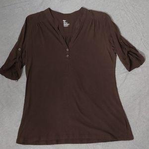 Brown V-Neck w/ Buttons Soft Shirt * Gap * L 🤓
